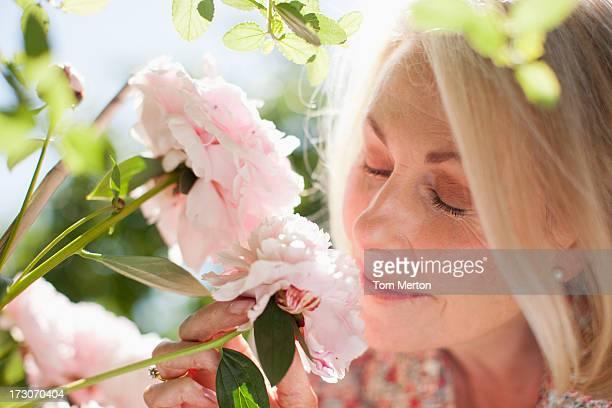 Nahaufnahme von Frau riechen Rosa Blumen