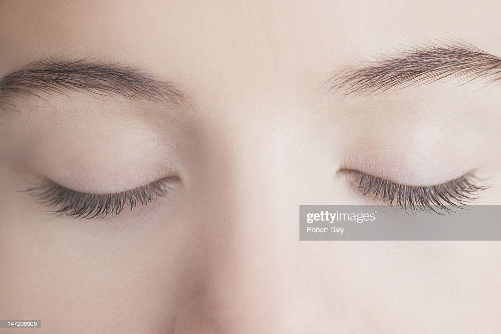 Close up of woman with eyes closed