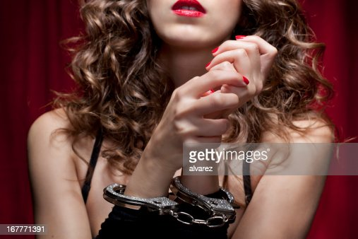 Close Up of Woman with Hand Cuffs