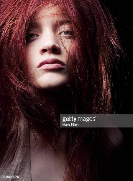 Close up of woman with messy hair