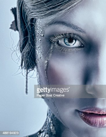 Close up of woman with silver makeup