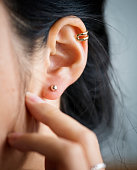 Close up of woman's ear with earrings