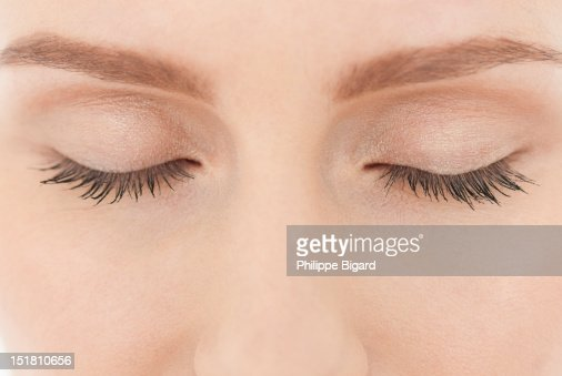 Close up of womans closed eyes