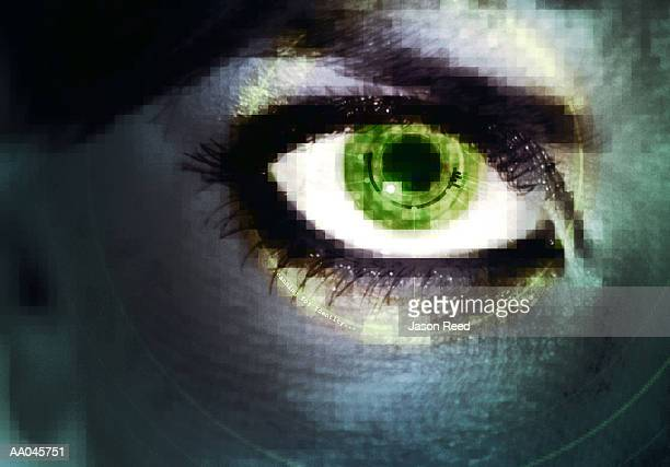 Close up of Woman's Eye, Retinal Scanning