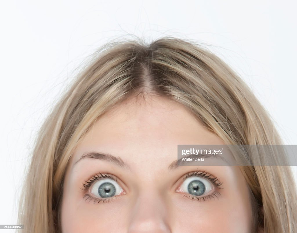 Close up of woman's eyes wide open