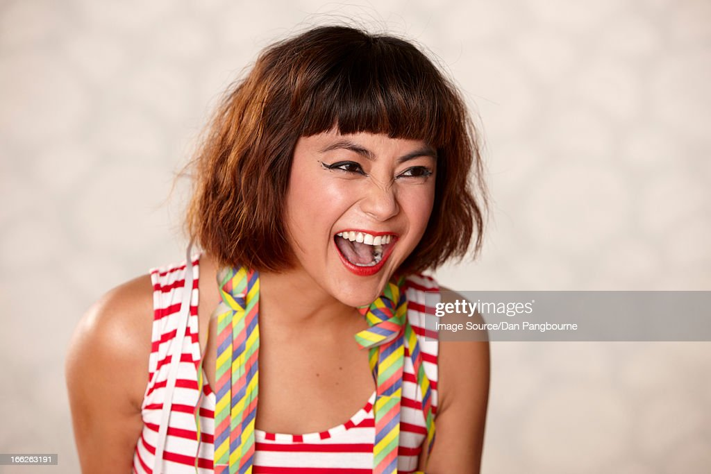 Close up of woman's laughing face : Stock Photo