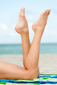 Close Up of Woman's Legs Feet and Calfs