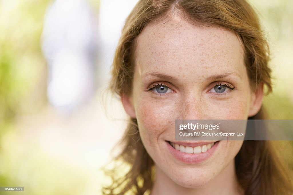 Close up of womans smiling face : Stock Photo