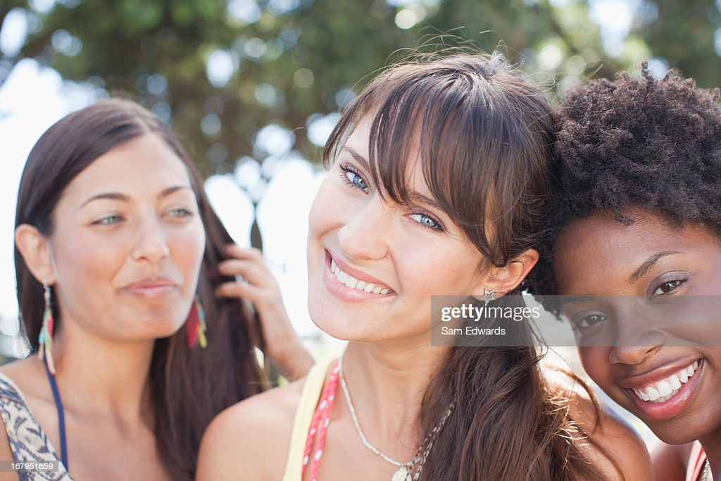Close up of women's smiling faces : Stock Photo