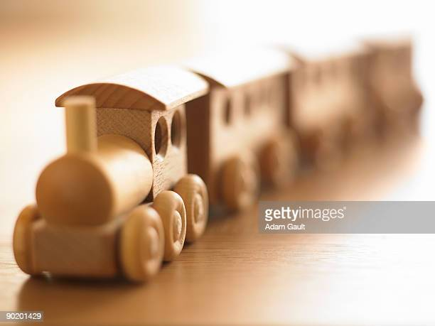 Close up of wooden train set