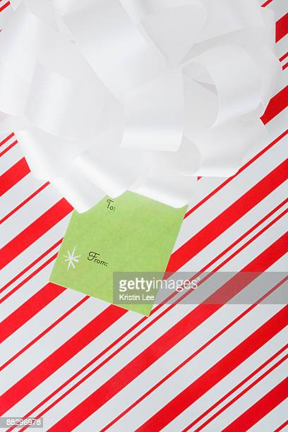 Close up of wrapped Christmas gift