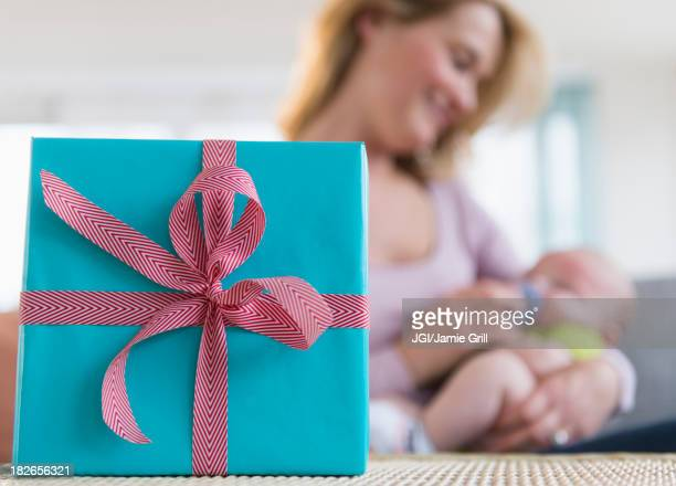 Close up of wrapped gift on table