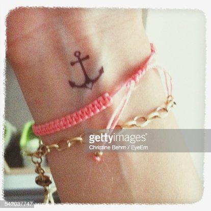 Close Up Of Wrist With Tattoo And Bracelets