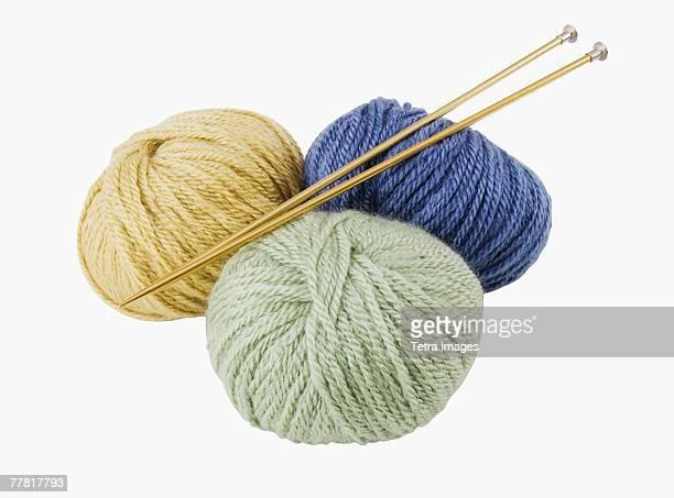 Close up of yarn and knitting needles