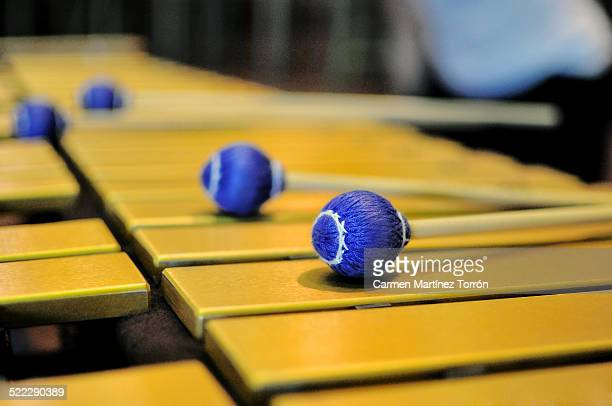 Close up of yellow Xylophone.
