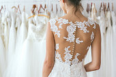 Close up of young bride in wedding dress