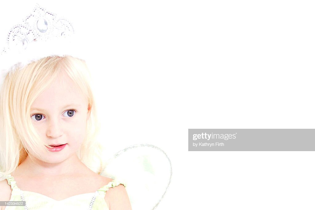 Close up of young girl with fairy wings : Stock Photo