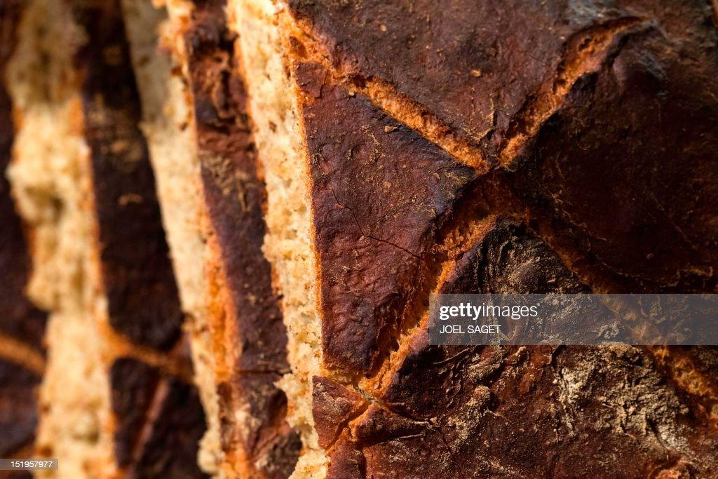 Close up on a loaf of bread taken on September 13, 2012 in the bakery 'Du pain et des idées' (Bread and ideas) in Paris. AFP PHOTO JOEL SAGET