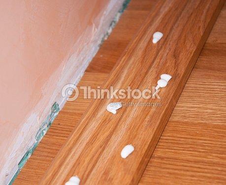 Close Up On Oak Wood Parquet Installation Floor Repair