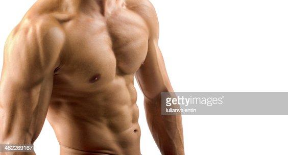 Primer plano perfecta abs. sólida con seis de bodybuilder : Foto de stock