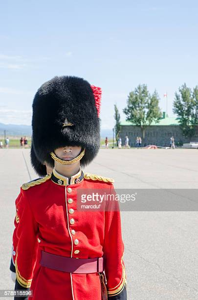 Close up on Royal Guard standing at Quebec Citadel