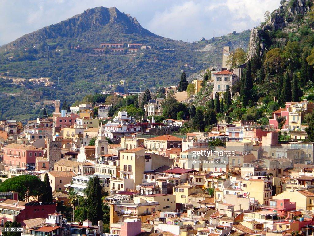 Close up on Taormina with Mountain, Sicily, Italy