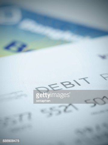 Close up part of debit card for background about finance : Stock Photo