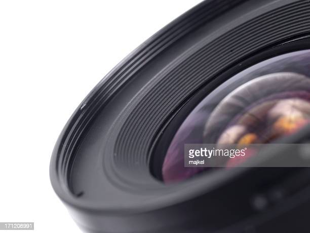 Close up photo of a black camera lens