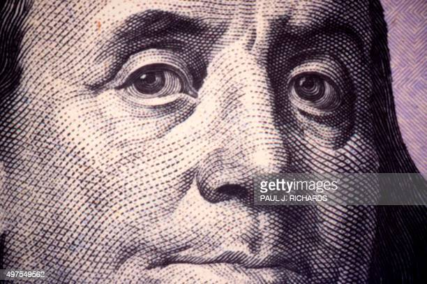 A close up photo of Benjamin Franklin one of the founding fathers of the United States as seen on a US $100 Federal Reserve Note November 17 2015 at...
