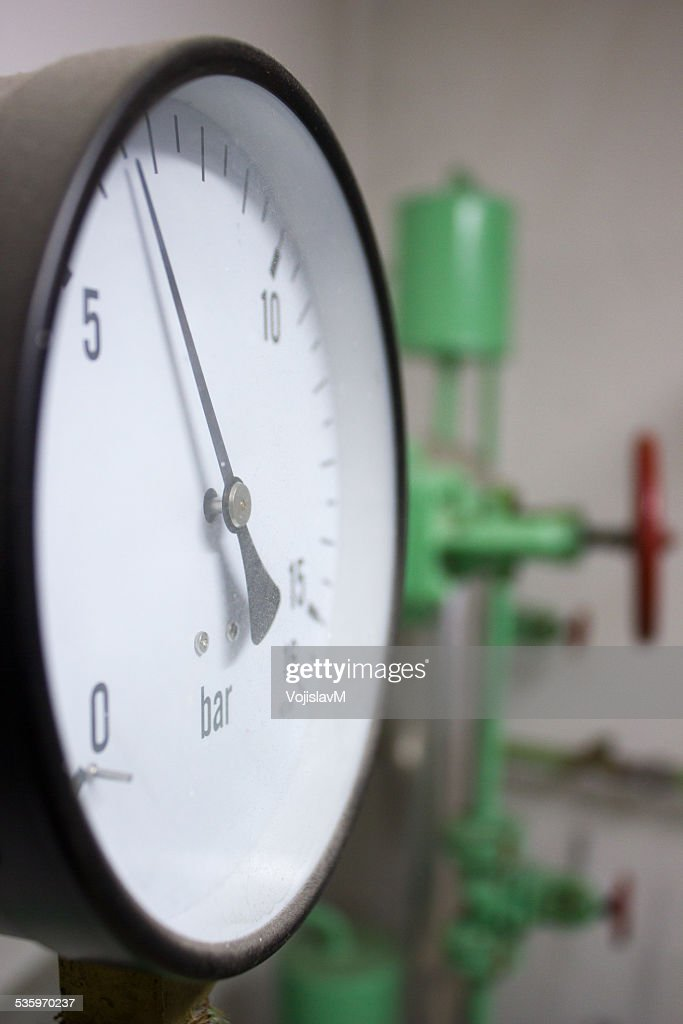Close up photo of manometer with valve : Stock Photo