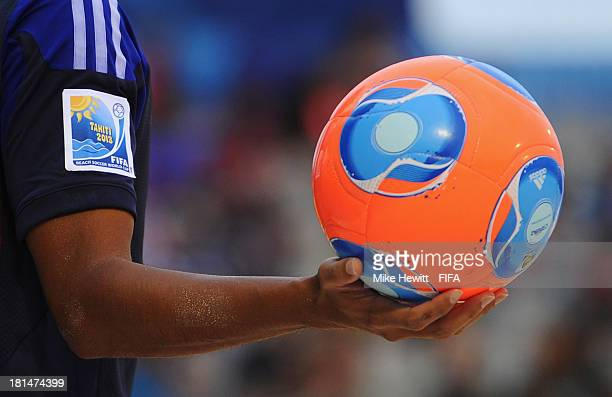 Close up photo of the ball during the FIFA Beach Soccer World Cup Tahiti 2013 Group D match between Japan and Paraguay at the To'ata Stadium on...