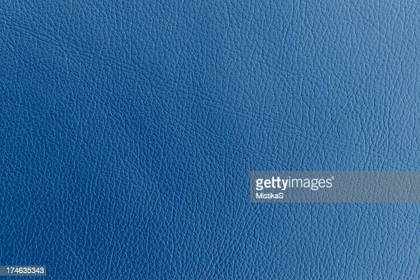Close up photograph of blue dyed leather