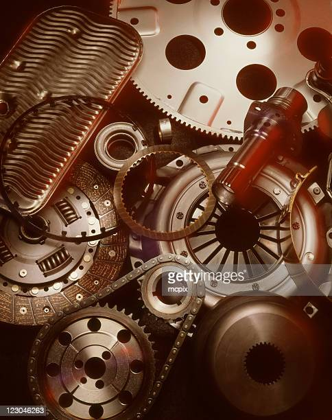 A close up photograph of mechanical pieces and gears