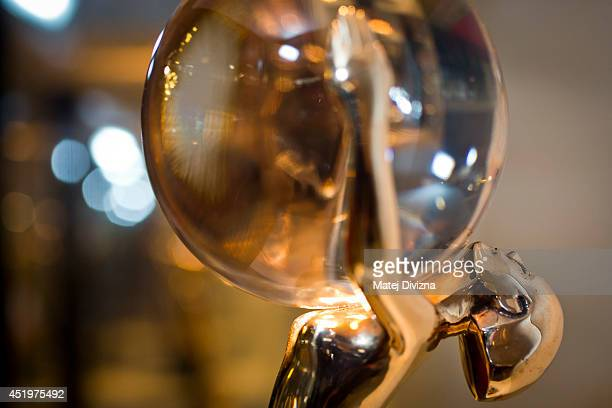 A close up photograph shows The Crystal Globe Award trophy of the 49th Karlovy Vary International Film Festival on July 10 2014 in Karlovy Vary Czech...