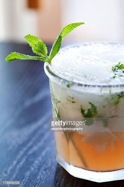 Close up picture of cold passion fruit mojito