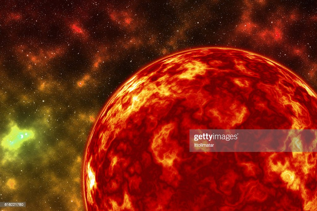 close up Planet explosion, Exploding fire planet : Stock Photo