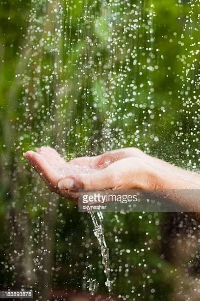 Ritratto di Close-up, mani a pioggia tropicale.