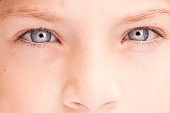 Close up portrait of a boys eyes