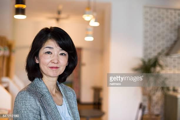 Close up portrait of a happy senior Japanese woman