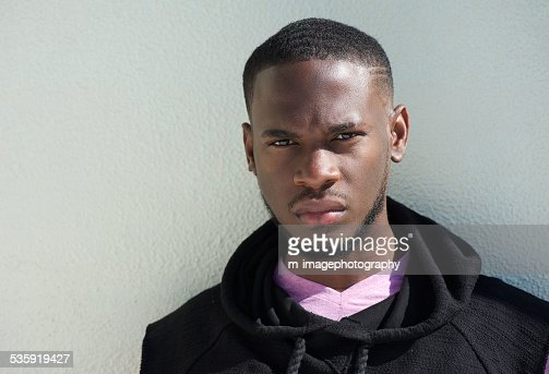 Close up portrait of a serious african american young man : Stock Photo
