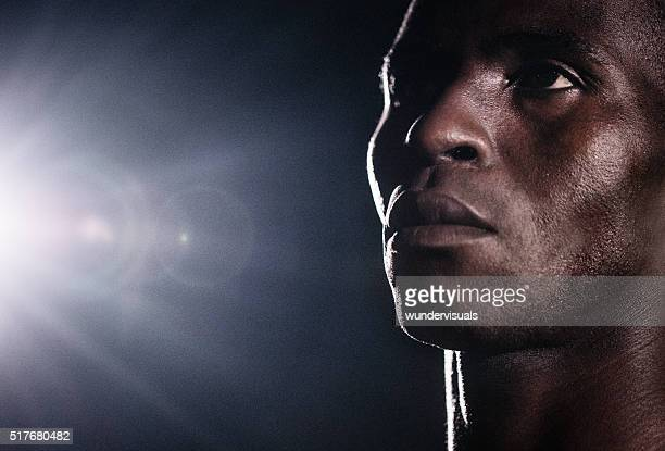 Close up Portrait of Basketball Player Looking Left