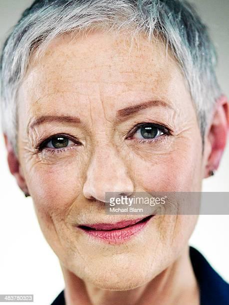 Close up portrait of confident mature woman