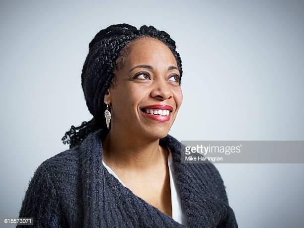 Close up portrait of mature female smiling