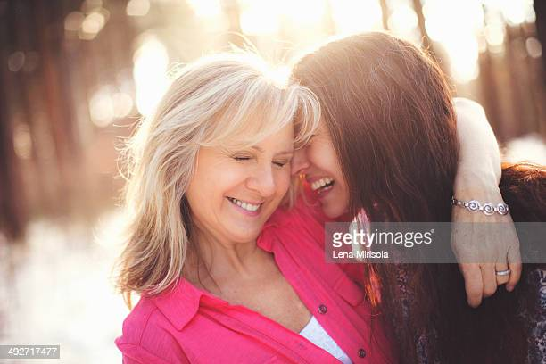Close up portrait of mature women in forest