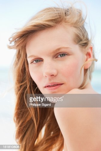 Close up portrait of serious woman : Stock Photo