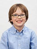 Close up portrait of smiling boy (5-7)