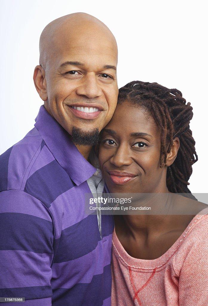 Close up portrait of smiling couple : Stock Photo