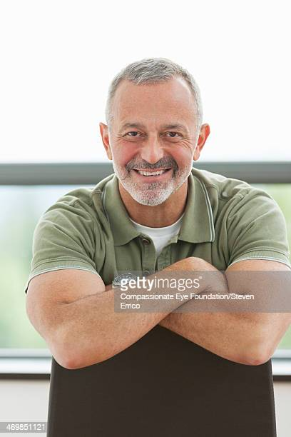 Close up portrait of smiling mature man