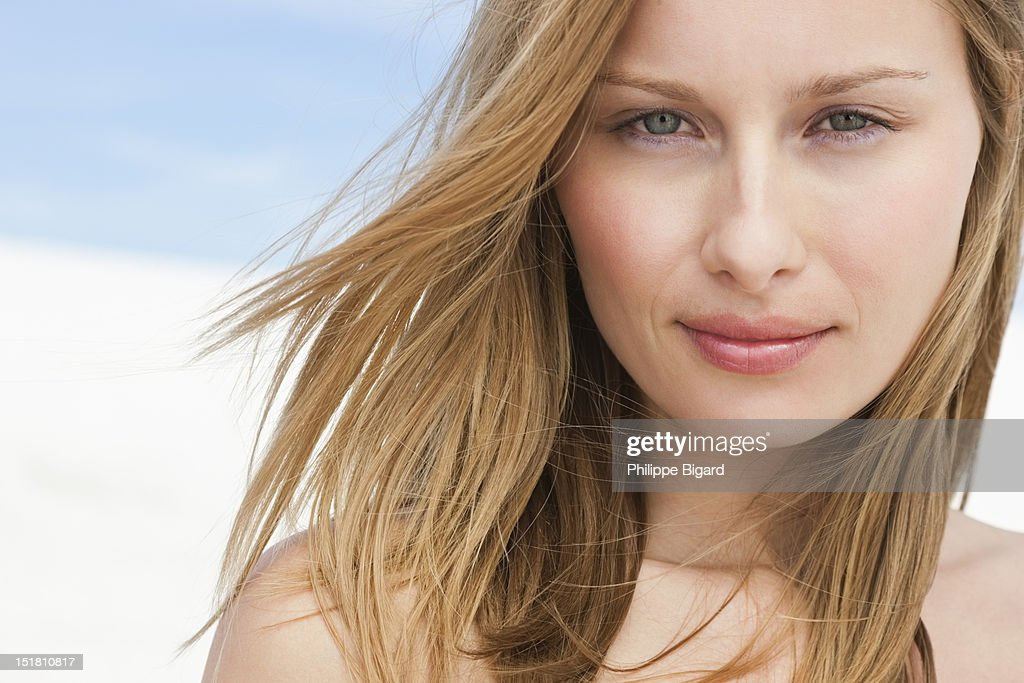 Close up portrait of smiling woman : Stock Photo