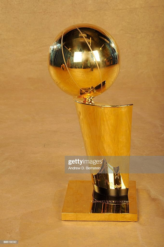 A close up portrait of the Larry O'Brien trophy following Game Five of the 2009 NBA Finals at Amway Arena on June 14, 2009 in Orlando, Florida. The Los Angeles Lakers defeated the Orlando Magic 99-86.